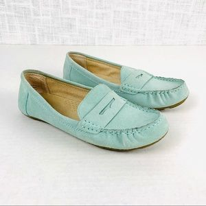 Merona genuine suede loafers, sea green, size 8